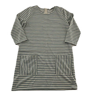 Abercrombie Fitch Striped 3 4 Sleeve Casual Front Pockets Dress Womens L Green $7.64