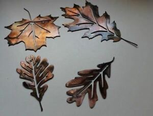 Metal Wall Art leaves Set of 4 copper bronze plated by HGMW $30.74