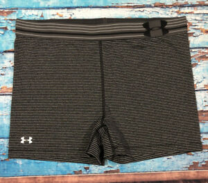 Womens UNDER ARMOUR Shorts Large Gray And Black Fitted $16.99