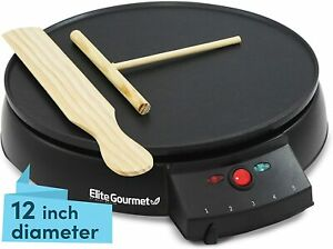 Elite Cuisine ECP 126 Electric Crepe Maker and Non stick Griddle with Spreader