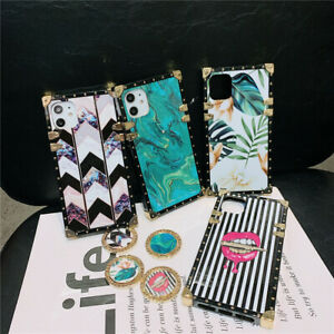 Luxury Mable Metal Square Ring Holder Case Cover for Samsung Note20 iPhone 11 XS $8.99