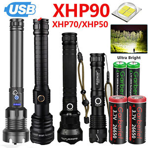 990000Lumen XHP70 XHP90 Tactical LED Flashlight Torch USB Rechargeable Lamp Zoom $35.99