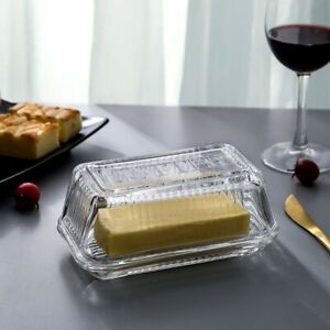 Clear Glass Butter Dishes with Covers Classic 2 Piece Design Butter Keeper $14.39