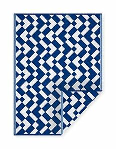 Indoor Outdoor Area Rug Great for Patios Porches Camping Beach Blue $49.99