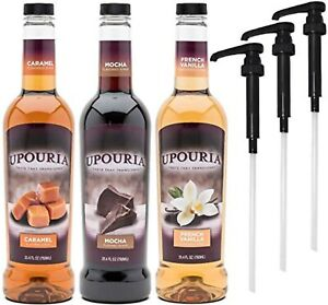 Upouria Coffee Syrup Variety Pack 750 mL Bottle 3 Coffee Syrup Pumps Included $38.99