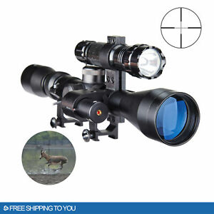Pinty 3 9X40mm Reflex Cross Reticle Rifle Scope with Laser Sight amp; Torch Hunting