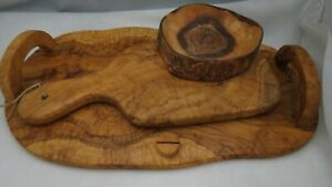 Italy Olivewood Set Cutting Boards and Bowl
