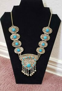 Vintage Silver Necklace New Mexico Native American Turquoise look