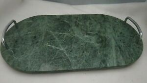 Studio Nova Oval Green Marble Serving Tray Cutting Board with Handles