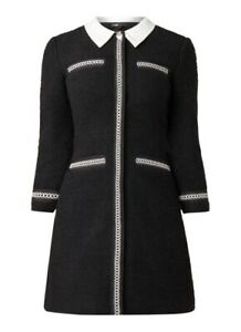 Maje Women#x27;s Black Tweed Style Renali Contrast Collar Mini Dress Size 36 $445