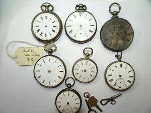 KEYWIND SILVER CASED ROMAN NUMBER DIAL POCKET WATCHES FOR ANTIQUE RESTORATION $475.00
