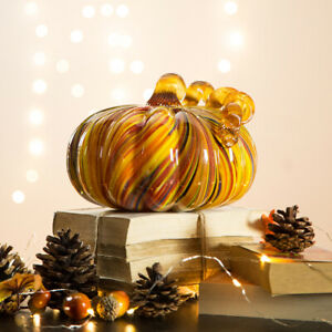 Glitzhome 8#x27;#x27;D Multi Striped Glass Pumpkin Art Sculpture Halloween Harvest Decor
