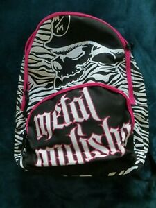 Womens Metal Mulisha Zebra Black Pink Backpack NEW Super cute $34.99