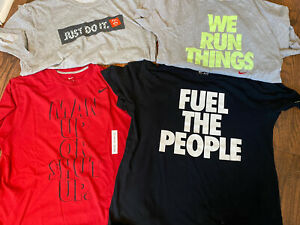 Lot of 4 Mens Nike Shirts with Slogans T Shirts 3 Dri Fit 1 Cotton Size XL $49.50
