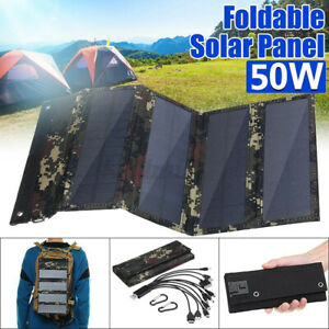 50W 10in1 Folding Solar Panel USB Battery Charger Power Bank Camping Hiking RV $26.25