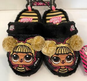 LOL Surprise Girls Black Pompom Scuff Character Slippers House Shoes L.O.L