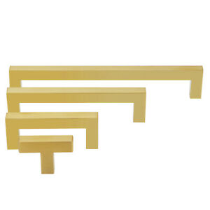 Gold Square Pull Handle Cabinet Door Kitchen Drawer Hardware sizes 3quot; to 10quot; $4.99