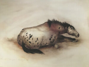 "Carol Grigg Signed Lithograph Native American Print ""Brooding Mare"" 30""W X 24""T $35.00"