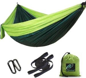 """Double Hammock Parachute Portable Camping in blue fruit green amp; red 118quot;L x98""""W"""
