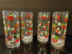 Handpainted Glasses with Cherries 7quot; set of 4