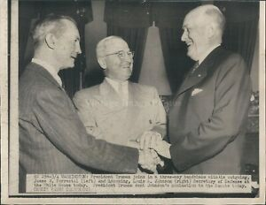 1949 Photo President Truman Three Way Handshake Forrestal Johnson Men WirePhoto
