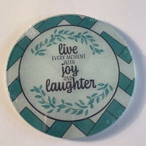 Cooking Concept Kitchen Square Cutting Trivet Board Tempered Live Joy Laughter $8.95