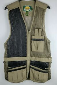 Cabelas Hunting Shooting Vest Leather Polyester With Patches Mens Large