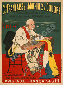 Francaise vintage french sewing machine ad poster 18x24 $7.95