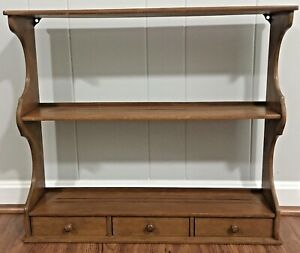 Vintage Wood Wall Hanging Shelf with Bottom Drawers $45.75