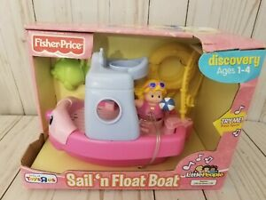2007 Fisher Price Little People TALKING SAIL #x27;N FLOAT FISHING PINK BOAT NEW Rare