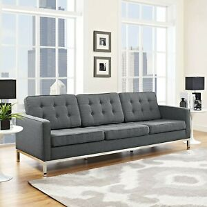 Mid Century Modern Tufted Upholstered Fabric Living Room Sofa Couch in Gray