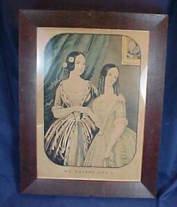 Antique N. Currier Lithograph Hand Colored Print My Friend And I in Frame $68.00