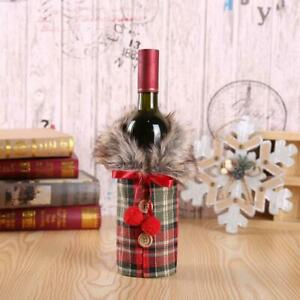 Christmas Wine Bottle Bag Wrap Faux Fur Collar for Wine Enthusiast Hostess Gift