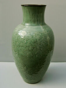 Large Chinese celadon glaze vase carved and incised with paeony and floiage