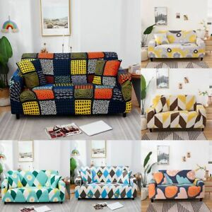 1 2 3 4 Seater Colorful Geometry Printed Couch Case Sofa Cover Slipcover Hotel
