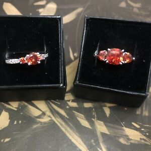 Ring Bomb Party Size 10 Ruby and White Topaz Rings Set of 2 RBP 2247 amp; 2139