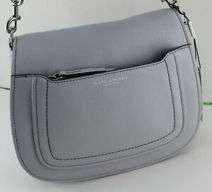 NEW AUTHENTIC MARC JACOBS LEATHER GREY HANDBAG CROSSBODY WOMEN#x27;S M0013046 052 $139.99