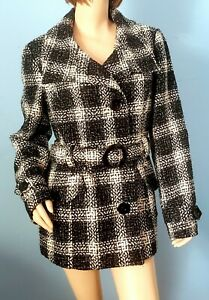 Vintage Black and White Plaid Trench Coat Jacket Belted Size Large Weather Tamer $34.97
