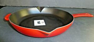 NEW Staub France 10quot; Cast Iron Frypan Cherry Red 1203652 Open Box