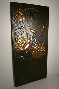 Antique Roses Vtg Metal Picture Flower Wishing Happiness Russian Signed Painting $24.95