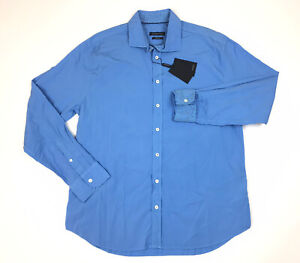 BUGATCHI Mens Sport Shirt Long Sleeve Shaped Fit Solid Blue Size XL NWT $149 $49.95