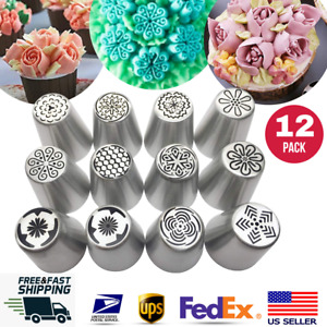 12pcs LARGE Russian Flower Icing Piping Nozzle Tips Set Cake Cupcakes Pastry $14.99