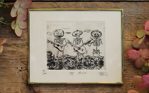 Mariachi Skeletons Day of the Dead Framed Etching by Abelar Mexican Folk Art $36.00
