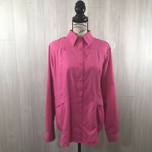 Reel Legends Fishing Pink Breathable Mesh Long Sleeve Button Up Shirt L