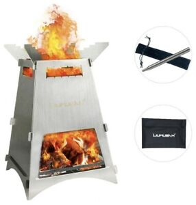Firepit Wood Burning Camping Stove Portable Backpack Lightweight Stainless Steel
