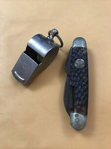 Vintage Boy Scout Whistle And Pocketknife Multi Tool