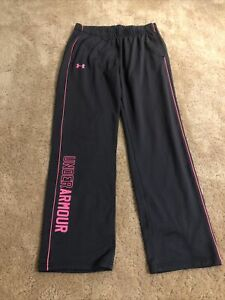 Girls Under Armour Gray W Pink Storm Coldgear Sweatpants Large $8.00