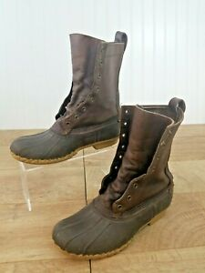 LL Bean Maine Hunting Boots Mens 8 Dark Brown Leather 10quot; WP Duck Shoes No Laces