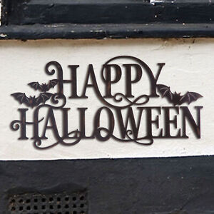 Glitzhome 23quot;L Metal quot;HAPPY HALLOWEENquot; Wall Hanging Sign Holiday Welcome Decor $15.99