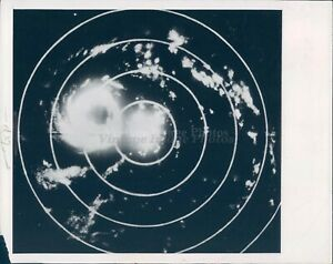 1949 Photo Sky View Lights Circular Patterns Lines Night View Vintage Image